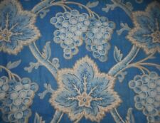 Antique Early 19thc French Indigo Prussian Blue Arborescent Grape Cotton Fabric