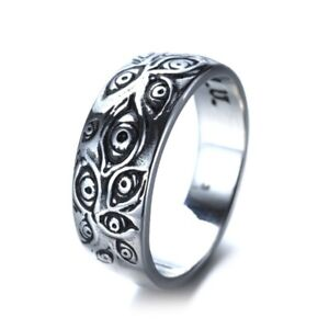 Gothic 925 Silver Monster Eyes Ring Men Punk Biker Hip Hop Ring Jewelry Size 12