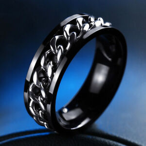 Black Womens Mens Jewelry Chain Ring Stainless Steel Titanium Hip Hop Size 11