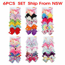 6pcs 5.6inch Signature Jojo Siwa Bows Girls Fashion Hair Accessories Cheerleader