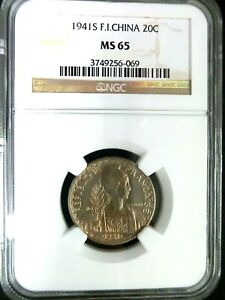 NGC MS65-French Indo-China 1941S Liberty 20 Cents GEMBU Scarce