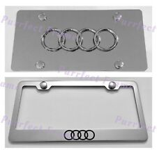 Audi LOGO Stainless License Frame & Mirror Plate Rust Free