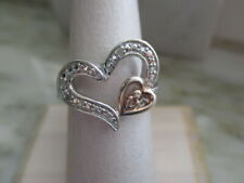 Heart & Diamond Ring Sterling Silver Rose Gold Plated