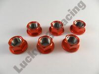 Set of 6 Alloy sprocket cush drive nuts M10 x 1.25mm Red x6 six