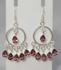 Amethyst Coloured Quartz & Silver Plated Chandelier Earrings - NEW