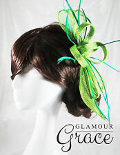 Poppy green sinamay fascinator races hat Melbourne Cup carnival wedding Derby
