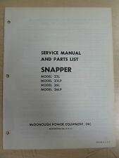 SNAPPER McDONOUGH 22L 22LP 26L 26LP SERVICE & PARTS MANUAL