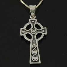 Box Chain, Solid Sterling Silver, pn164 Celtic Knot Cross Silver Pendant, +