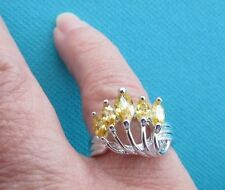 925 Sterling Silver Ring With Yellow Citrine UK P, US 7.75 (rg0727)