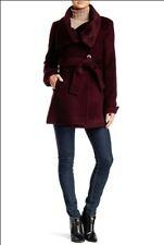 New NWT Trina Turk Wool Alpaca Blend Belted Wrap Coat Wine Maroon Sz 0 $