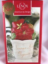 "Lenox Winter Meadow Flower Pot Salt Pepper Set New Pointsetta Christmas 3.75"""