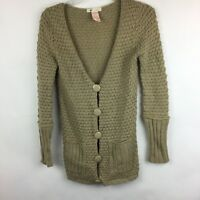 Tulle Cardigan Sweater Tan Chunky Knit Long Sleeve Wool Blend Pockets Women S