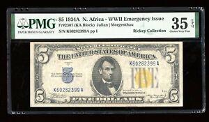 DBR 1934-A $5 Silver North Africa Fr. 2307 PMG 35 EPQ Serial K60282399A
