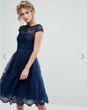 Chi Chi London Premium Lace Midi Dress with Cap Sleeve in Navy Size 8