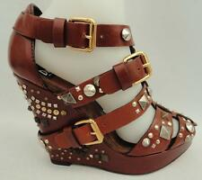 Dolce & Gabbana D&G Cuñas Tacones Sandalias De Cuero Con Tachuelas UK6 EU39 rrp899GBP