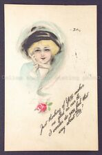 A Lady w/ Hat Postcard w/ 1913 Panama-Pacifc Exposition postmark, Gibson Art