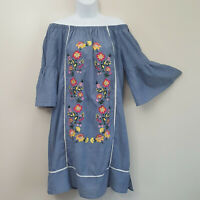 COCO+CARMEN Chambray Embroidered Off Shoulder Shift Tunic Dress Sundress Sz S/M