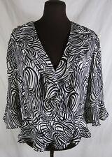 Jones New York Black White Silk Ruffle Wrap Blouse Zebra Open Front 12 Medium