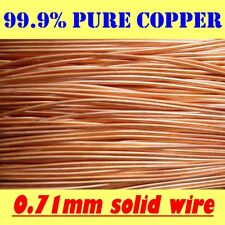 10 METRES SOLID BRIGHT 99.9 PURE COPPER WIRE, 0.71mm 22G SWG 21G AWG