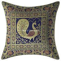 Indian Brocade Throw Pillow Cover Navy Blue 16x16 Jacquard Peacock Cushion Cover