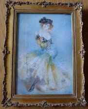 RARE French Miniature Painting c.1900 Dancing Girl Signed Gabi Nude Art Nouveau