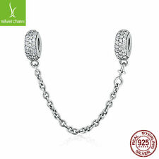 Authentic 925 Silver Pave' Inspiration Safety Chain New Charm Original DIY Chain