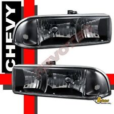 1998-2004 Chevy S10 Pickup / Blazer Black Headlights 99 00 01 02 03 RH + LH