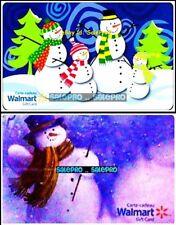 2x WALMART XMAS SNOWMAN MAGIC WAND FROSTY CRYSTAL & KIDS COLLECTIBLE GIFT CARD L