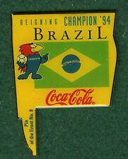 France 1998 World Cup soccer pin - Coke - Brazil flag -  8  -  football badge