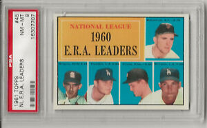 1961 TOPPS #45 ERA LEADERS, PSA 8 NM-MT,  DON DRYSDALE, LOS ANGELES DODGERS,L@@K