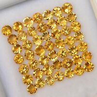 NATURAL YELLOW CITRINE 3.5 MM ROUND CUT FACETED LOOSE AAA GEMSTONE LOT