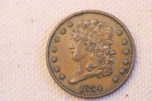 1834 Classic Head  Half  Cent VF+