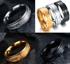 6mm Black Silver Gold Stainless Steel Roman Numeral Band Mens Womens Ring K - Z4