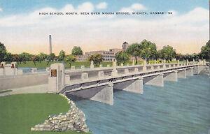 High School North & Minisa Bridge WICHITA Kansas 1930-45 E.C. Kropp Postcard 56