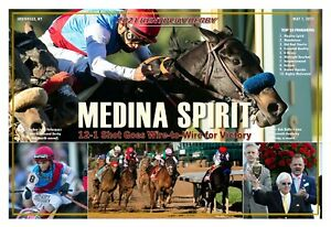 "MEDINA SPIRIT WINS THE 2021 KENTUCKY DERBY 19""x13"" COMMEMORATIVE POSTER"