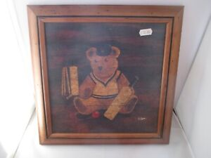 Kids Teddy Bear, Cricket Themed, framed  oil style picture by L Bratt