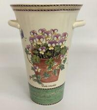 """Wedgwood Sarah's Garden 7"""" Vase Viola Tricolor Green Base"""