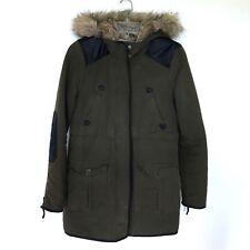 Zara olive green jacket faux fur hooded coat parka Women Size small S