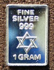 USA 1 gram .999 Fine Silver Art Bar - Star of David - NEW - Uncirculated