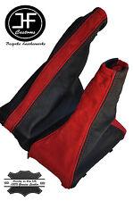 RED SUEDE BLACK LEATHER FOR VAUXHALL OPEL CORSA B TIGRA GEAR HANDBRAKE SET