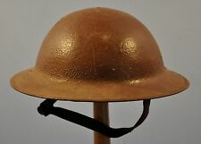 ORIGINAL WWI US M1917 2ND PATTERN BRODIE PAINTED BROWN COMBAT HELMET~100% INTACT