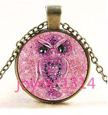 Jewellery OWL Photo Cabochon bronze Glass Chain Pendant Necklace TS-4421