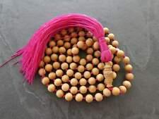 Mysore Sandalwood Mala Prayer Beads, Necklace, Bracelet 8 mm Beads with a Pink T