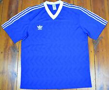 Original 80er Jahre-RAR-Adidas Trikot Blau-Made in Bulgarien Gr.:L   (P2)