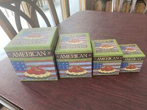 STACKING NESTING BOX 4 each AMERICAN APPLE PIE Warren Kimble &4 others 2 Set Lot