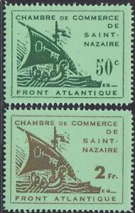 France Nazi 1945 ST. NAZAIRE Green Paper Set No-Gum Set Reproduction Stamp sv