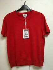 NWT Eric Bompard diabolo bright red cashmere top short sleeve sweater XL L