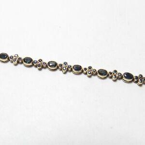 Estate 14K Yellow Gold Natural Oval Navy Blue Sapphire Tennis Bracelet 4.50 Cts