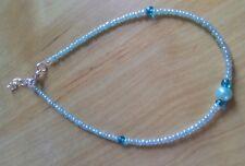 blue bead and crystal anklet/ankle bracelet seaside beach funky