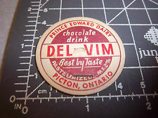 Milk Bottle Cap from Prince Edward Dairy, Picton Ontario DEL-VIM chocolate drink